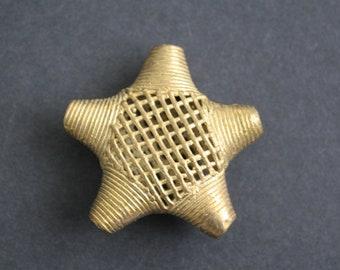 1 Jumbo African Brass Bead, Handmade Brass from Ghana's Ashanti, Lost Wax Metal Cast. Star-Shaped, Stunning!