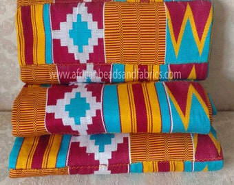Kente Fabric Ghana Cotton Cloth, Authentic Handwoven Ethnic Artisan Craft for Clothing/Interiors/Accessories, 3 Size Options (approx 2 yds)