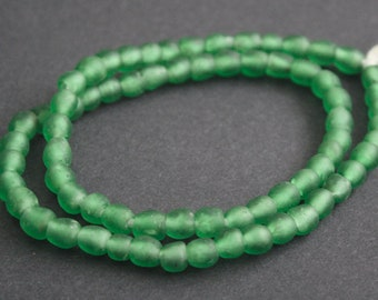 30 Green African Beads, 7 mm Ghana Recycled Glass, Handmade  Krobo Ethnic beads for Jewelry and Crafts