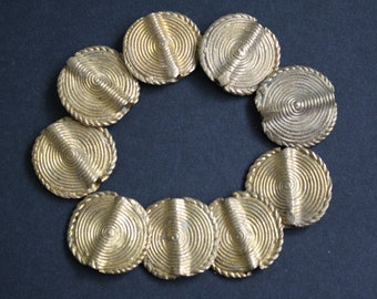 5 Large African Brass Beads, Ashanti Ghana Lost Wax, 28 mm, Just Stunning