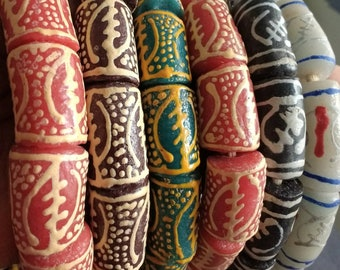 "5 African Beads, Krobo Recycled Glass Handmade, With Adinkra* ""Gye Nyame"" Patterns, Handmade, Black/Red/Brown/Green Colour Options"