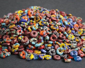 40 Mixed Lot African Disc Beads, Refashioned Glass Spacers, 9-12 mm Handmade in Ghana's Krobo, for Jewelry and Crafts