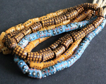 Small African Beads, Krobo Ghana Recycled Glass, Hand-made Ethnic Tubes, 11-15 mm, One Strand