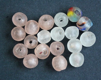 19 Mixed Lot of African Glass Beads, Handmade Recycled Glass from Ghana's Krobo, 13-15 mm,
