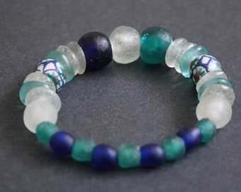 African Jewelry, Ghana Krobo Recycled Glass Bracelet, Stretchy, 3 Options, 6.25 inches, Gift Idea, Free bag Included