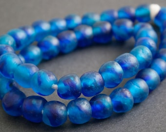 15 Mottled Blue African Beads, Ghana Recycled Glass, 13-14 mm Round for Jewelry and Crafts, Translucent and Just Stunning