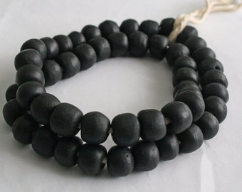 15 Black African Beads Ethnic Ghana Recycled Glass from Krobo, Round 13-14 mm for Jewellery and Crafts,