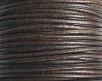 Buffalo Leather Cord, 2mm or 2.5mm Wide, Rounded, Griffin Brand, Brown, Pre-Cut