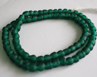 30 African Beads, Ghana Recycled Glass, Handmade  Krobo Ethnic beads for Jewelry and Crafts , deep Green,  7mm approx