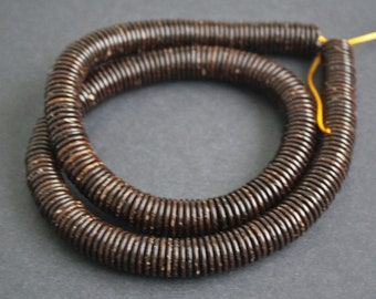 100 Coconut Shell Disc Beads, Spacers, 14-15 mm x 2 mm,  Dark Brown