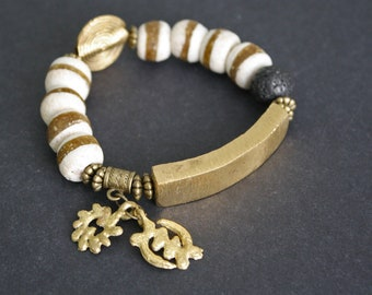 African Bracelet, Ghana Recycled Glass and Brass Beads Jewelry, White/Gold, Adinkra Bi Nka Bi & Gye Nyame Charms, Great Small Gift for her