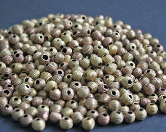 8 mm African Brass Beads, Round, Handmade Ethnic Ghana 'Lost Wax' Craft, for Jewelry and Crafts, Horizontal Stripes