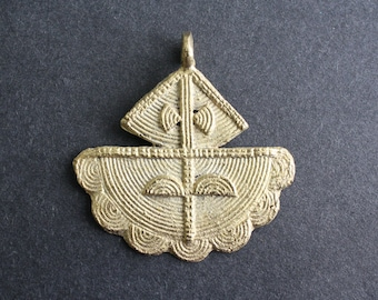 1 African Tribal Brass Pendant/Charm Handmade Ashanti Ghana, for Statement Piece, 52 mm
