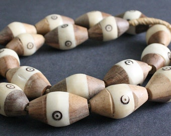 5 Jumbo African Bone and Wood Beads, Kenyan 39-40 mm Bi-cones, Cream/Brown/Beige