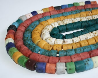 15 African Beads, Chunky Krobo Ghana Recycled Glass Tubes, Hand-made 9-14 mm, for Jewelry and Crafts, 9 Colour Options