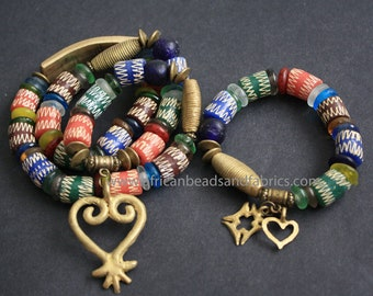 African Traditional Wedding Set, Head Piece and Bracelet with Adinkra Sankofa Symbol Brass bar, 22 Inches