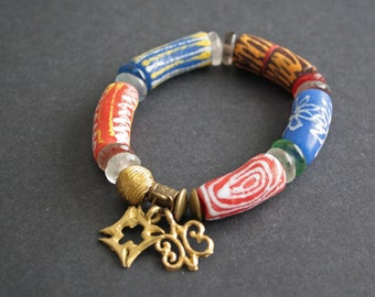 African Adinkra Bracelet , 7-inch Chunky Ghana Krobo Recycled Glass & Brass Beads with 2 Charms, Gift Idea, Free Bag