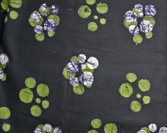 African Fabric by the Yard, Ghana Cotton Batik, Black Ethnic Print, Black/Lime Green/White, Stunning! for Clothing, Head Wraps, Quilts, etc