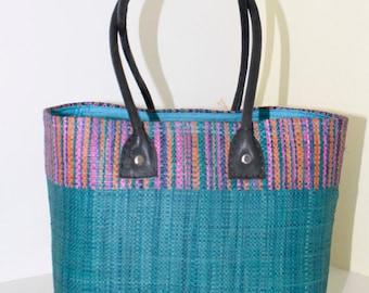 Small Shopping/Picnic Bag, Raffia, Handmade Fair Trade, Turquoise/Rainbow