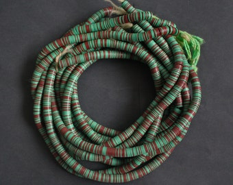 8 mm African Vinyl Beads, Vulcanite Heishi Discs, Very Thin, for Jewellery and Crafts, 34- inch Strand, Green/ Chocolate Brown mix