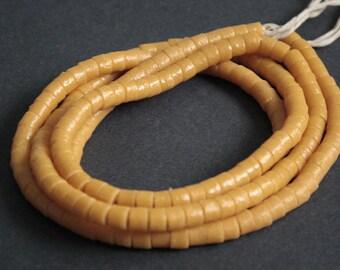 50 African Beads, Ghana Krobo Recycled Glass Spacers,  5-7 mm, Handmade Ethnic Beads, Bright Mustard
