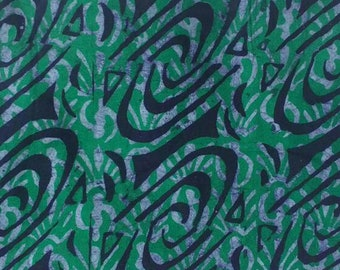 African Batik Fabric  Hand-dyed Ghana Cotton, Preshrunk,  Green/Deep Purple