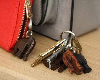 Elephant Key Rings Handmade Solid Ebony Wood, Great Small Gifts and Stocking Fillers