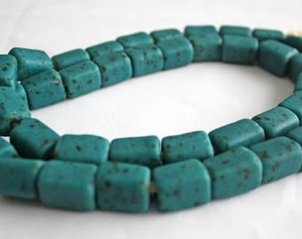 African Beads, Ghana Recycled Glass, Handmade Ethnic Krobo, Speckled Teal, Cuboid, 15 mm, for Jewelry and Crafts, Full Strand