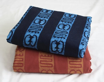 African Fabric Ghana Cotton Batik, Adinkra*, Preshrunk Hand-dyed Ethnic Cloth, Navy/Blue, Red/Gold, for Clothing, Interiors and More