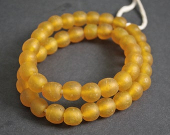 15 Yellow African Beads, Large Krobo Recycled Glass, 13-14 mm Round, for Jewelry/Jewellery and Other Crafts
