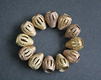 """African Brass Beads, Handmade """"Barrel Cones"""", 22-24 mm, for Jewelry and Crafts,"""
