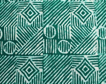 African Fabric by the Yard, Ethnic Ghana Cotton Print Green & White  Preshrunk, Hand-dyed and Printed for Dressmaking Head Wraps, Quilts etc