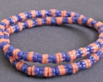 2-Layer African Beads, Ghana Ethnic Krobo Recycled Glass, 6mm, Handmade for Jewelry and Crafts, Long Strand. Blue/Orange