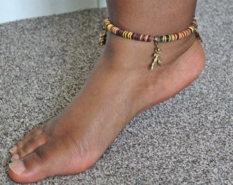 Stretchy Anklet, African Adinkra Jewelry, Vinyl Vulcanite Heishi Disc Beads with 4 Charms, Approx 9 inches,  Lovely Gift Idea