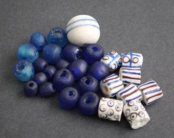 29 African Beads, Ethnic Ghana Krobo RecycledGlass, Handmade, Mixed Lot,9-23 mm, Blue & White