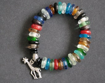 African Jewelry,  Stretchy Bracelet Recycled Glass Beads, Multi-Coloured with Giraffe Charm, Gift for Her
