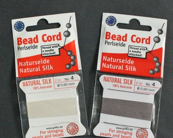 2 x Natural Silk Beading Cord, white, No 4, 0.6 mm thick, 2 m Long with 1 Stainless Steel Needle, from Griffin