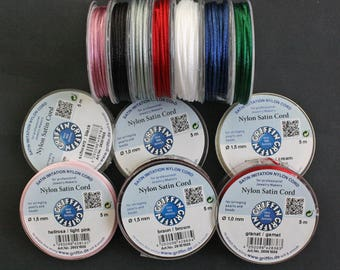 Nylon Satin Cord, Griffin,  1.5 mm Thick, 5 meter Spool, for Stringing Pearls and Beads, Various Colours