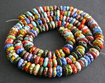 90 African Beads, Refashioned Glass Krobo Ghana 13-14 mm Chunky Donut/Disc Spacers Multi-coloured, Full strand, 3 Options