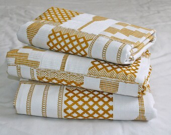 Kente Fabric from Ghana, Gold and White, Authentic Handwoven Traditional Cotton Festive Cloth, One Piece, Choose from 3 Sizes