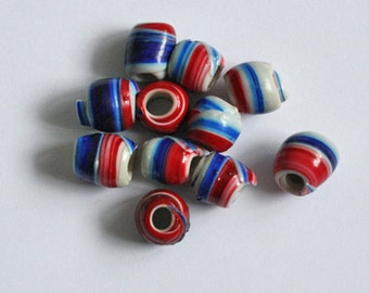 15 African Beads, Recycled Plastic, Handmade, Spiral Round, Red, Blue & White, Approx 12 -14 mm,
