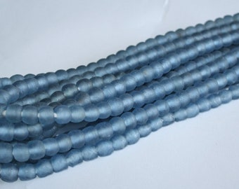 Pale Blue African Beads, Ghana Recycled Glass, Handmade 10-11 mm Round, Translucent, Strand of 55/Pack of 27