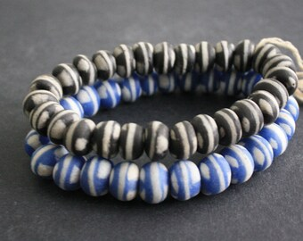 African Beads, Ghana Krobo Ethnic Glass, 12/14mm, Black/Blue and White, for Jewelry and Crafts, 1 Full Strand
