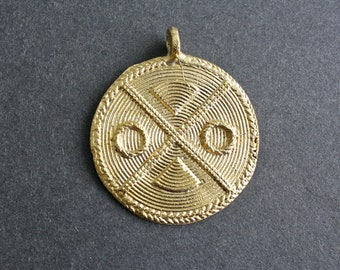 African Tribal Brass Pendant, Handmade Ashanti Ethnic Lost Wax Technique, 52 mm