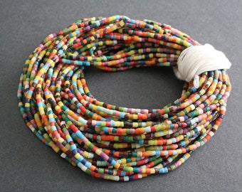 African Waist Beads/seed beads from Ghana's Krobo, 56 inches Long, Multi-coloured Glass Beads, with Cotton Tie Cord