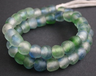 15 African Beads, Ghana Krobo Recycled Glass, Green and Blue Multi-tones, 13-15 mm, Handmade for Jewelry and Crafts