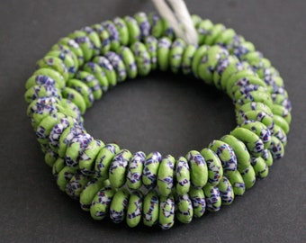 20 African Disc Beads, Handmade Refashioned Glass,  Krobo, Ghana 13-14 mm Spacers,  Green, for Jewelry and Crafts