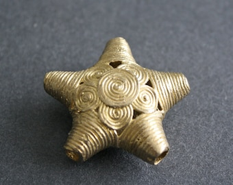 African Brass Beads Handmade Star Shaped, Lost Wax Technique 30/40mm