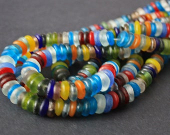 130 African Disc Beads, Ghana Krobo Recycled Glass Spacers, Translucent, 9-12 mm for Jewelry and Crafts, 1 full strand