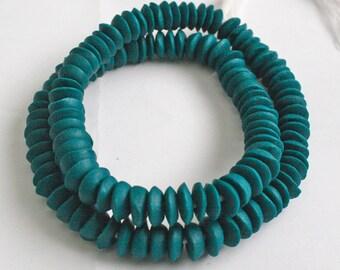 54 African Beads, Ghana Krobo Recycled Glass , 13-14 mm Doughnut/Saucer, Deep, Rich Teal,  Handmade for Jewelry and Crafts